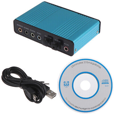 USB Sound Card 6 Channel 5.1 Optical External Audio Card CM6206 Chipset;UK • 9.76£
