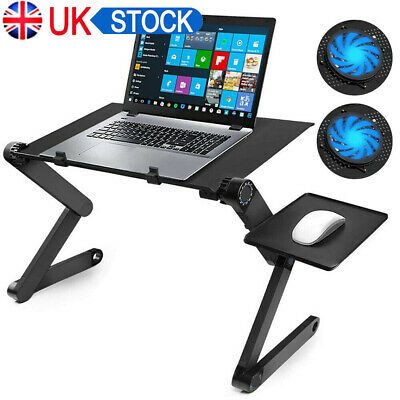 Adjustable Portable Laptop Table Bed Lap Tray Foldable Desk With Cooling Stand • 15.59£