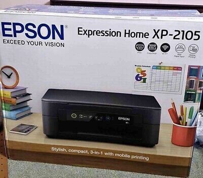Epson Expression Home XP-2105 Wireless Inkjet Printer - Black NEW WITH INKS . • 69.99£