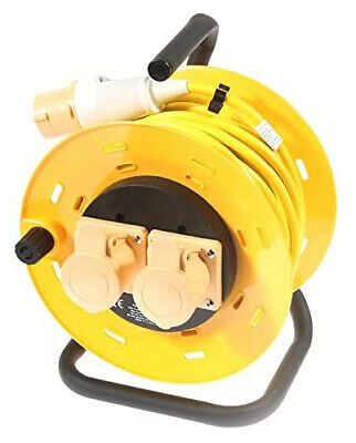 SMJ 110v Extension Lead Cable Reel 25m 2 Socket Yellow 16A 1.5mm • 26.95£