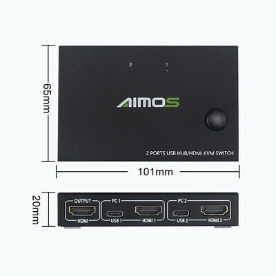HDMI KVM Switch 2 Port HD Video 4K USB VGA Switcher For Mouse Keyboard Supplies • 22.33£