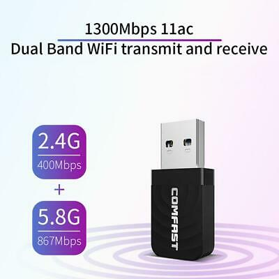 COMFAST Dual Band Wireless Network Card 1300Mbps WiFi Dongle Adapter 802.11 B/g/ • 8.99£