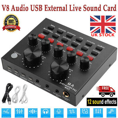 V8 Audio External USB Headset Mic Webcast Live Sound Card For Phone Computer PC • 16.40£
