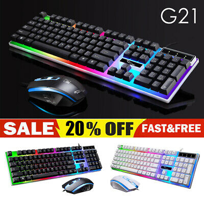 Gaming Keyboard Mouse Set Rainbow LED Wired USB For PC Laptop Xbox One 360 UK • 11.09£