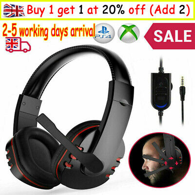 Gaming Headset For Xbox One PS4 Nintendo Switch PC Laptop Stereo Mic Headphones • 9.99£