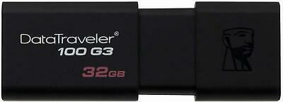 Kingston DT100G3/32GB DataTraveler 100 G3 USB 3.0 Flash Drive, 32 GB, Black • 4.43£