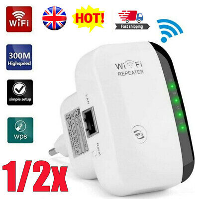 1/2X 300Mbps WiFi Repeater Router Range Extender Signal Blast Booster UK Plug In • 11.54£
