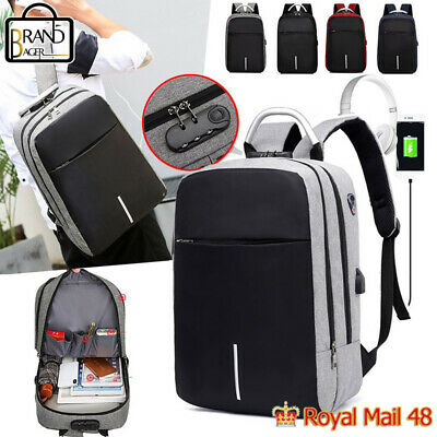 USB Charging School Bags Unisex Anti Theft Laptop Backpack Travel Multifunction • 11.59£