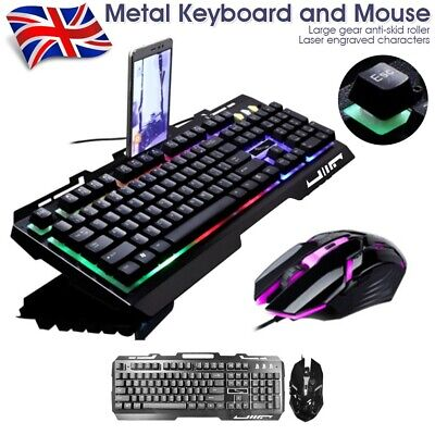 Gaming Keyboard And Mouse Set Rainbow RGB LED USB For PC Laptop Xbox One PS4 UK • 16.99£