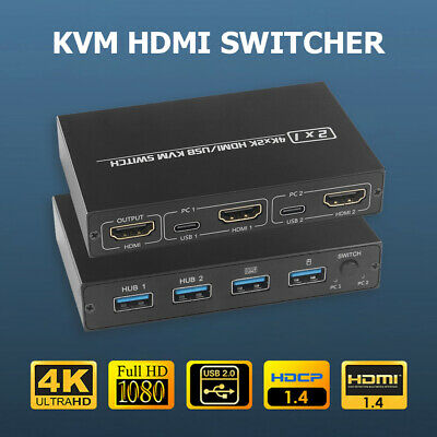 2 Port HDMI KVM Switch 4K For 2 PC Sharing One Monitor Keyboard Mouse Printer • 16.17£