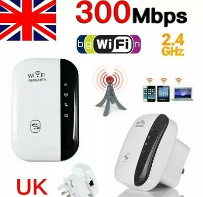 300Mbps WiFi Wireless Repeater Plug And Play Range Extender Signal Booster UK • 3.20£