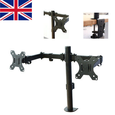 Double Twin Arm Desk Mount Bracket LCD Computer  Monitor Stand 13 -27  Screen UK • 19.99£