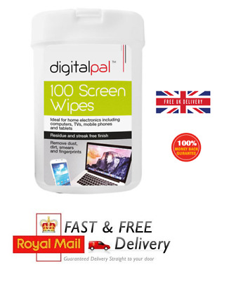 100 Screen Cleaning Wet Wipes Laptop LED LCD TV Computer Phone IPad Cleaner UK • 4.10£