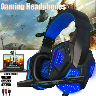 UK Gaming Headset USB Wired Over LED Headphones With Mic For PC Laptop PS4 • 11.99£