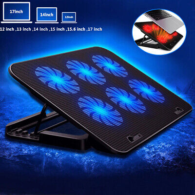 Laptop Cooler Mat Stand Tilt For 12  15.4  15.6  17  Inch Cooling Pad 6 FAN • 15.59£