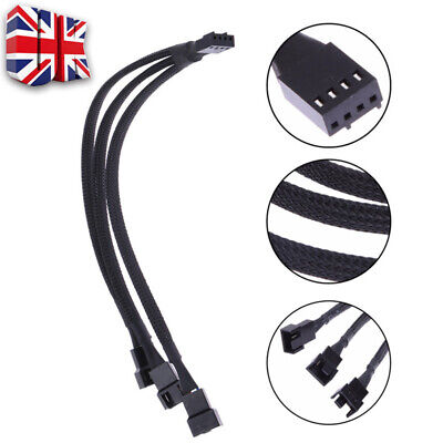 UK 1 To 3 Way Splitter Sleeved 4-Pin PWM Connector Fan Extension Cable 1 Pcs E • 3.29£