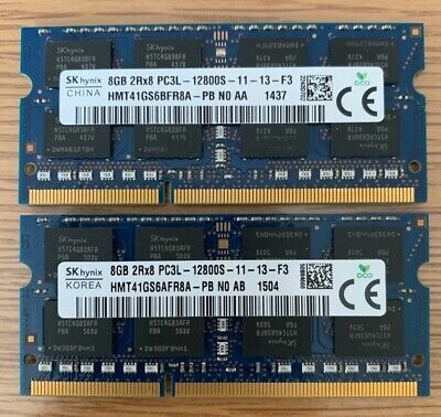 Hynix 16GB (2x8GB) DDR3L 1600MHz PC3L-12800S 204PIN SODIMM Laptop RAM 1.35V A4 • 46.99£