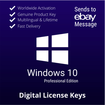 Window$ 10 Professional License Key 32/64bit ✅ GENUINE ® ✅ INSTANT DELIVERY • 4.50£