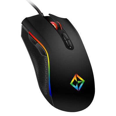 COMBRITE Rainbow RGB LED Gaming Mouse USB Wired Programmable 7 Button Mice Gamer • 14.50£