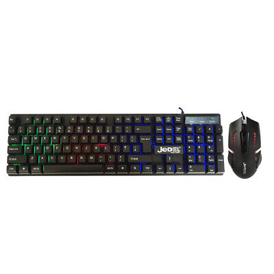 Gaming Keyboard And Mouse Set Rainbow RGB LED USB For PC Laptop Xbox One PS4 UK • 14.95£