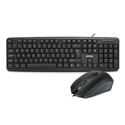 Slim USB Wired Keyboard And Optical Mouse Set UK Layout Full Size PC Laptop NEW • 8.95£