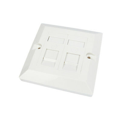 RJ45 Faceplate Wall Socket Cat6 Ethernet Single Gang 2 Port With Keystones • 3.99£