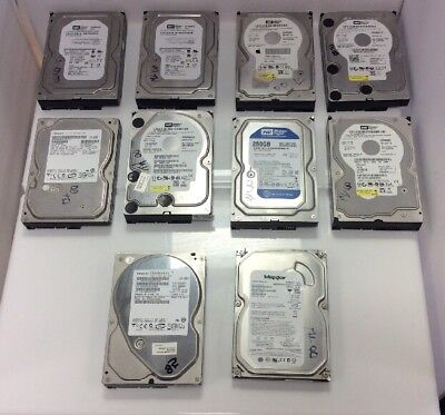 10 X 250GB 3.5  Hard Drive * Mixed Brands ** TESTED WORKING * DATA DESTROYED  ** • 50£