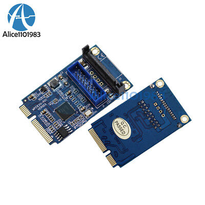Mini PCI-E To USB Adapter PCIE To 19Pin SATA Dual USB3.0 Expansion Adapter Card • 5.82£