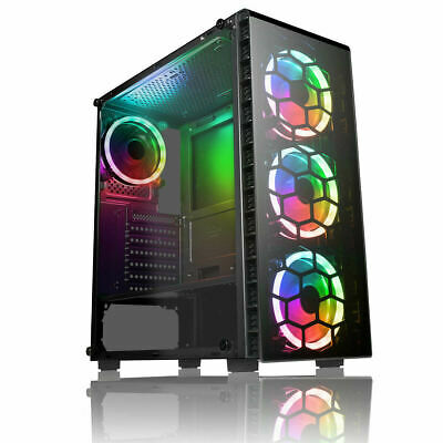 CiT Raider Gaming PC Case 4x Halo Spectrum RGB LED Fans Tempered Glass Panels UK • 57.99£