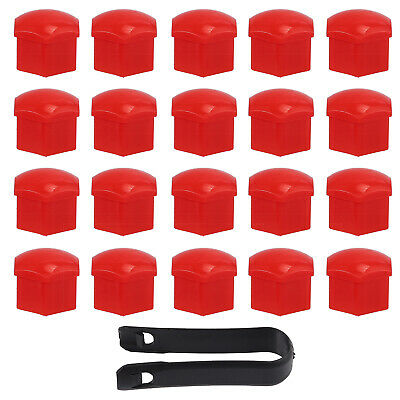 20pcs Alloy Car Wheel Nut Bolt Covers Caps + Removal Tool Red 17mm • 6.29£