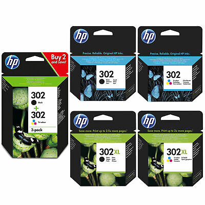Original HP 302 / 302XL Black & Colour Ink Cartridges For DeskJet 1110 Printer • 22.95£