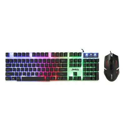 Gaming Keyboard And Mouse Set Rainbow LED Wired USB For PC PS4 Xbox One And 360 • 14.95£