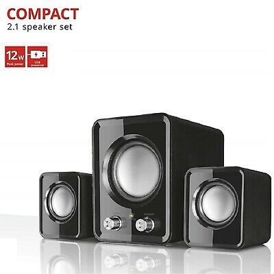 2.1 PC Speakers With Subwoofer For Computer Laptop Compact System 12W USB Powere • 13.97£