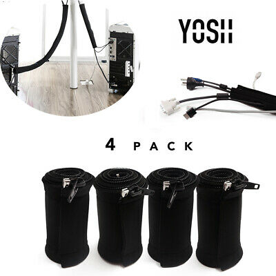 YOSH 4xCable Zipper Management Cable Neoprene Sleeve Wrap Wire Cord Cover Hider • 6.59£