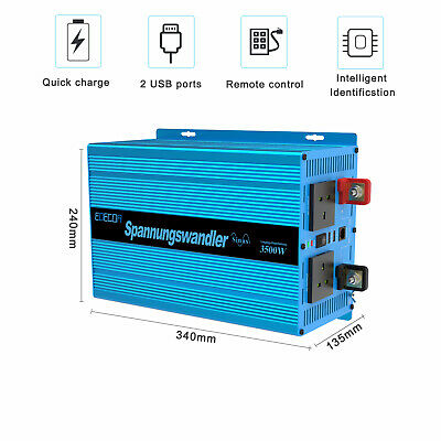 EDECOA 3500W 7000W Pure Sine Wave Power Inverter 12V  240V Converter 2 USB Ports • 339£