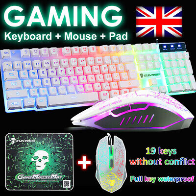 Gaming Keyboard And Mouse Set Rainbow LED Wired USB Illuminated For PC Laptop UK • 13.94£