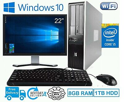 FAST PC COMPUTER DESKTOP SET HP CORE I5 8GB RAM 1TB HDD WIN 10 22  MONITOR WIFI • 159.99£