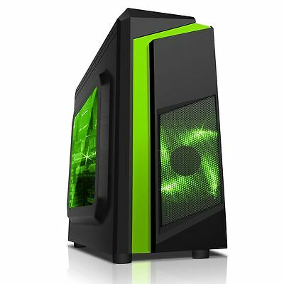 CiT F3 Black Micro ATX Gaming PC Case 120mm Green LED Fan USB 3 Side Window MATX • 29.99£