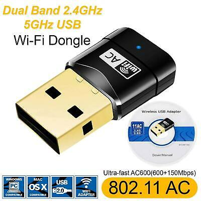 600 Mbps USB Dual Band Wireless Adapter 2.4-5GHz WiFi Dongle 802.11 AC Laptop PC • 5.99£