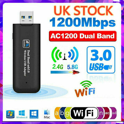 1200Mbps USB 3.0 Wireless WiFi Network Receiver Adapter 5GHz Dual Band Dongle • 8.29£