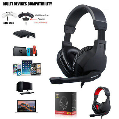 3.5mm Gaming Headset Stereo Mic Volume Control LED Headphones Fr PC PS4 Xbox One • 17.99£