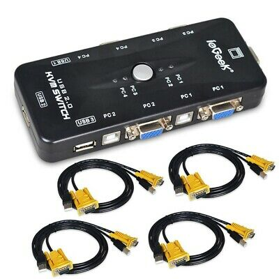 IeGeek 4 Port USB KVM Switch Box + 4 VGA USB Cables For PC Monitor/Keyboard HOT • 18.99£