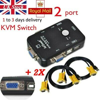 IeGeek 2 Port USB2.0 VGA KVM Switch BOX Adapter For PC Monitor Keyboard Mouse UK • 13.98£