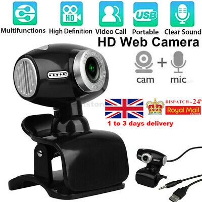 360° Webcam With Microphone USB Driver-free Web Camera For Laptop Computer PC UK • 11.98£