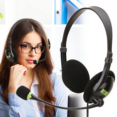 USB Wired Headset Headphones Microphone Mic Volume Control For Computer Laptop • 14.99£