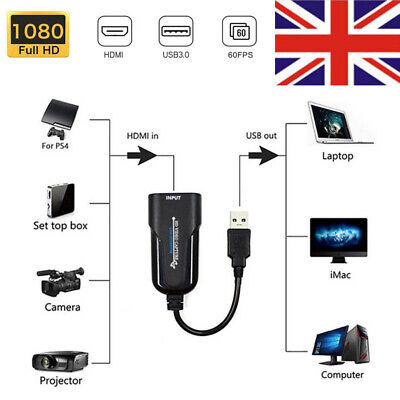 1080P 60FPS Video Capture Card HDMI To USB 3.0 Video Grabber Live Streaming • 13.89£