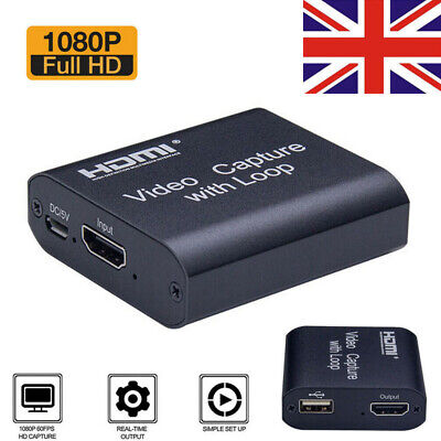 HD 1080P 60fps HDMI Video Capture Card USB 2.0 Mic Game Record Live Streaming • 15.99£