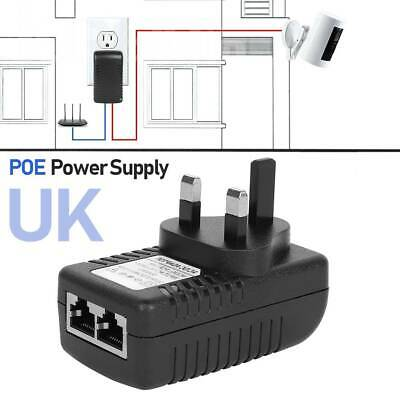 POE Power Supply 0.5A 48V PoE Injector Adapter UK Wall Plug Power Over Ethernet • 7.39£