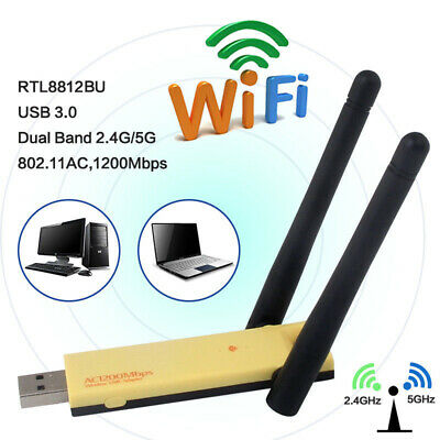 1200Mbps USB WiFi Dongle Adapter Wireless Network 2.4/5GHz For Laptop Desktop PC • 9.69£