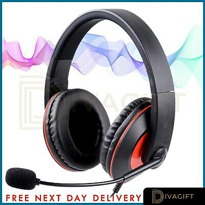 Gaming Headset USB Wired Over LED Headphones Stereo Mic For Xbox One/PS4 PC RED • 15.99£
